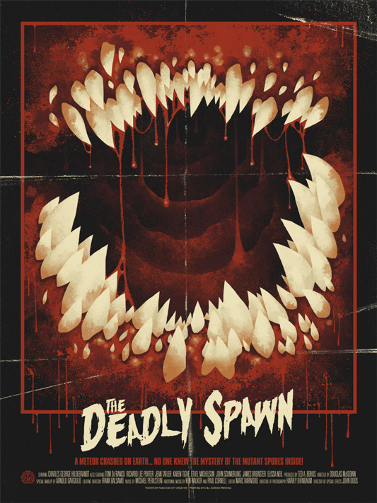 "「デッドリー・スポーン」Deadly Spawn Poster by Phantom City Creative.  18""x24"" screen print.  Hand numbered. Edition of 160.  Printed by D&L Screenprinting.  US$40"