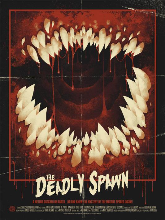"""「デッドリー・スポーン」Deadly Spawn Poster by Phantom City Creative.  18""""x24"""" screen print.  Hand numbered. Edition of 160.  Printed by D&L Screenprinting.  US$40"""