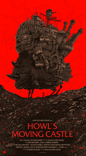 "「ハウルの動く城」レギュラー HOWL'S MOVING CASTLE Regular Poster by Olly Moss.  20""x36"" screen print. Hand numbered.  Edition of 430. Printed by D&L Screenprinting.  US$50"