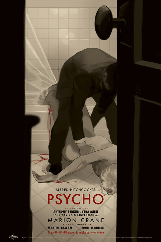 "「サイコ」 Psycho Poster by Tomer Hanuka.  24""x36"" screen print. Hand numbered. Edition of 290. Printed by D&L Screenprinting.  US$45"