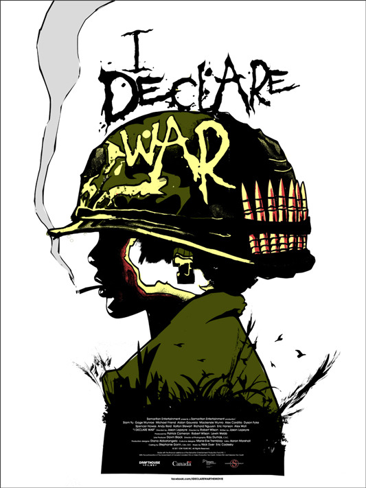 "I DECREAR WAR Poster by Jay Shaw. 18""x24"" screen print. Hand numbered. Edition of 100. Printed by D&L Screenprinting. US$35"