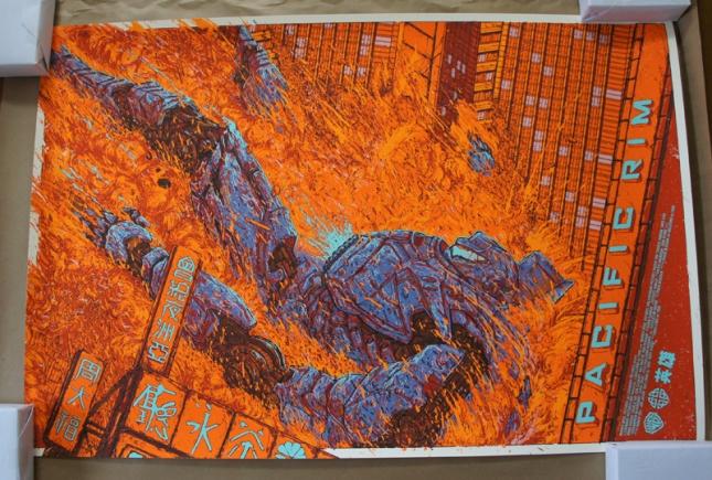 「パシフィック・リム(ジプシー・デンジャー)」 Pacific Rim (Gypsy Danger) Poster by Ash Thorp. 24″x36″ screen print. Hand numbered. Edition of 350. Printed by D&L Screenprinting.