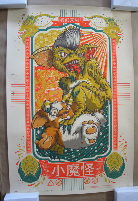 「グレムリン」Gremlins Poster by Drew Millward. 24″x36″ screen print. Hand numbered. Edition of 210. Printed by D&L Screenprinting. US$45