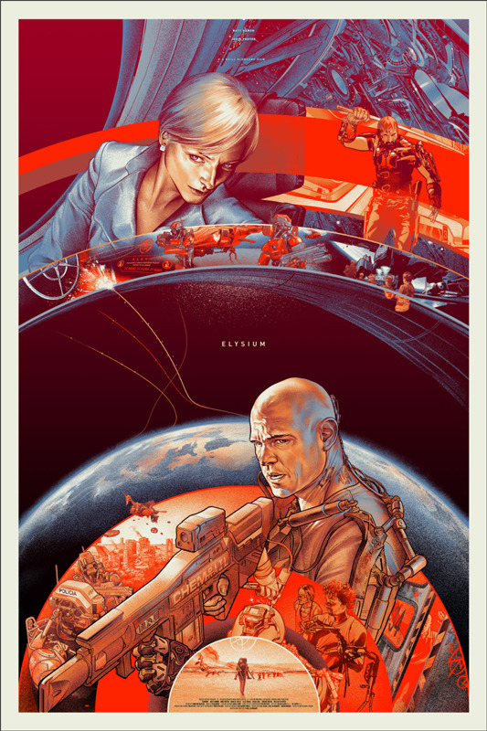 "「エリシウム」レギュラー Elysium Regular Poster by Martin Ansin.  24""x36"" screen print. Hand numbered. Edition of 380. Printed by D&L Screenprinting.  US$50"