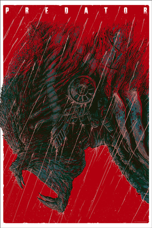 "「プレデター」PREDATOR Poster by Ash Thorp.  24""x36"" screen print. Hand numbered. Signed by Ash Thorp.  Edition of 325. Printed by D&L Screenprinting.  US$50"