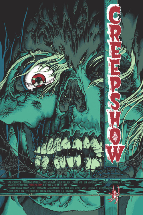 """「クリープショー」バリアント Creep Show Varient Poster by Mike Sutfin.  24""""x36"""" screen print. Hand numbered. Edition of 150.  Printed by D&L Screenprinting.  US"""