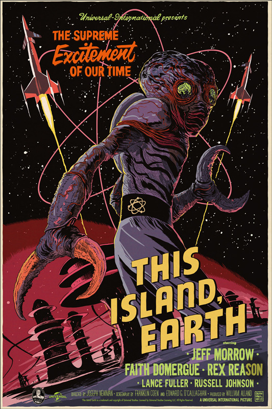 "「宇宙水爆戦」THIS ISLAND EARTH Poster by Francesco Francavilla. 24""x36"" screen print. Hand numbered. Edition of 325.  Printed by D&L Screenprinting.  US$45"