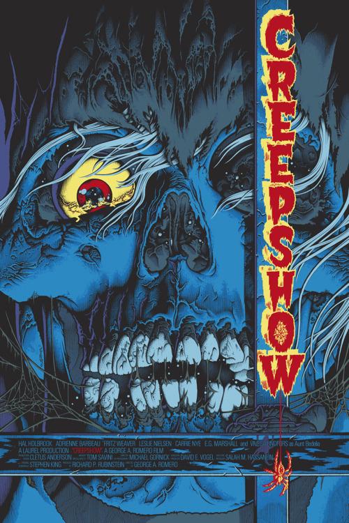 """「クリープショー」レギュラー Creep Show Regular Poster by Mike Sutfin.  24""""x36"""" screen print. Hand numbered. Edition of 300.  Printed by D&L Screenprinting.  US"""