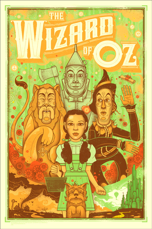 """「オズの魔法使」THE WIZARD OF OZ Poster by Graham Erwin.  24""""x36"""" screen print. Hand numbered. Edition of 275. Printed by D&L Screenprinting. US$45"""