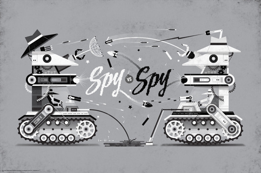 "SPY VS. SPY. Poster by DKNG.  36""x24"" screen print. Hand numbered.  Edition of 225. Printed by D&L Screenprinting.  US"