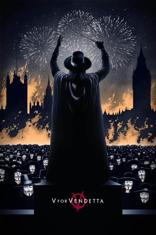 """「V フォー ヴェンデッタ」V FOR VENDETTA Poster by Marko Manev.  24""""x36"""" screen print. Hand numbered.  Edition of 275. Printed by D&L Screenprinting.  US$45."""