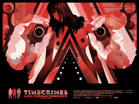 "「タイム クライムス」TIMECRIMES Poster by We Buy Your Kids.  24""x18"" screen print. Hand numbered. Edition of 135. Printed by D&L Screenprinting.  US$40"