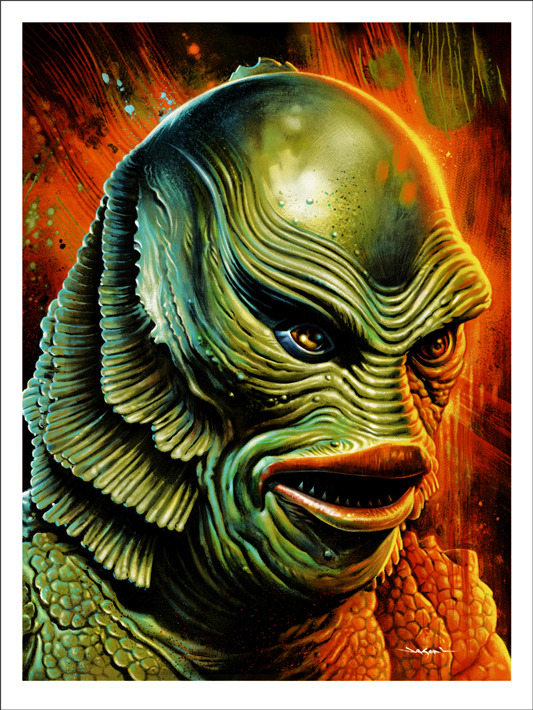 "「大アマゾンの半魚人」CREATURE FROM THE BLACK LAGOON Poster by Jason Edmiston.  18""x24"" screen print. Hand numbered. Edition of 175.  Printed by D&L Screenprinting.  US$45"