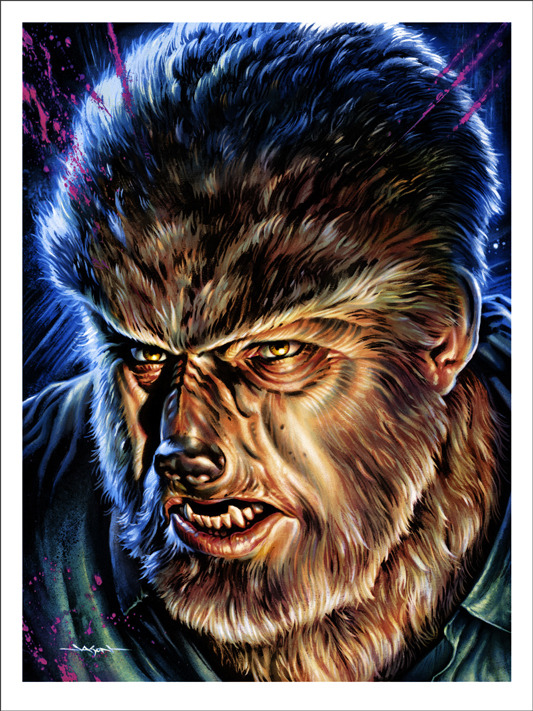 """「狼男」THE WOLF MAN Poster by Jason Edmiston.  18""""x24"""" screen print. Hand numbered. Edition of 175.  Printed by D&L Screenprinting.  US$45"""