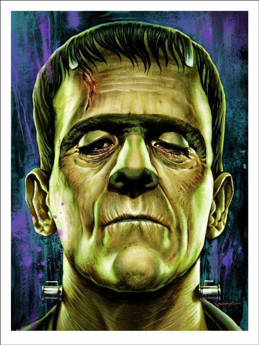 "「フランケンシュタイン」FRANKENSTEIN  Poster by Jason Edmiston.  18""x24"" screen print. Hand numbered. Edition of 175.  Printed by D&L Screenprinting.  US$45"