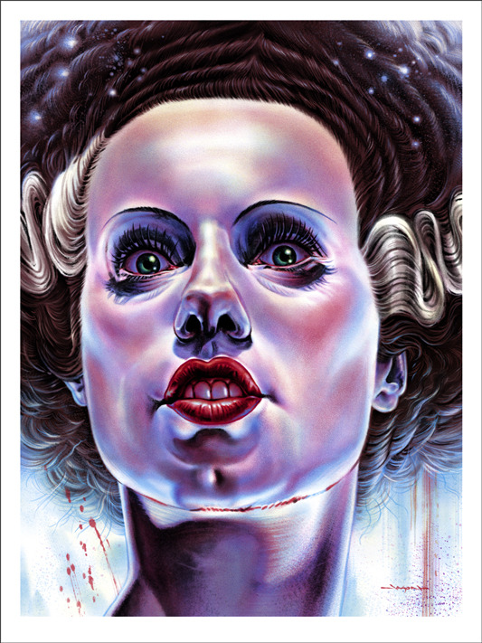 "「フランケンシュタインの花嫁」THE BRIDE OF FRANKENSTEIN Poster by Jason Edmiston.  18""x24"" screen print. Hand numbered. Edition of 175.  Printed by D&L Screenprinting.  US$45"