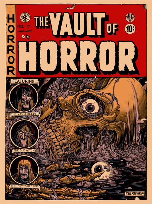 "The Vault of Horror Poster by Florian Bertmer.  18""x24"" screen print.  Hand numbered. Edition of 200.  Printed by D&L Screenprinting.  US$45"
