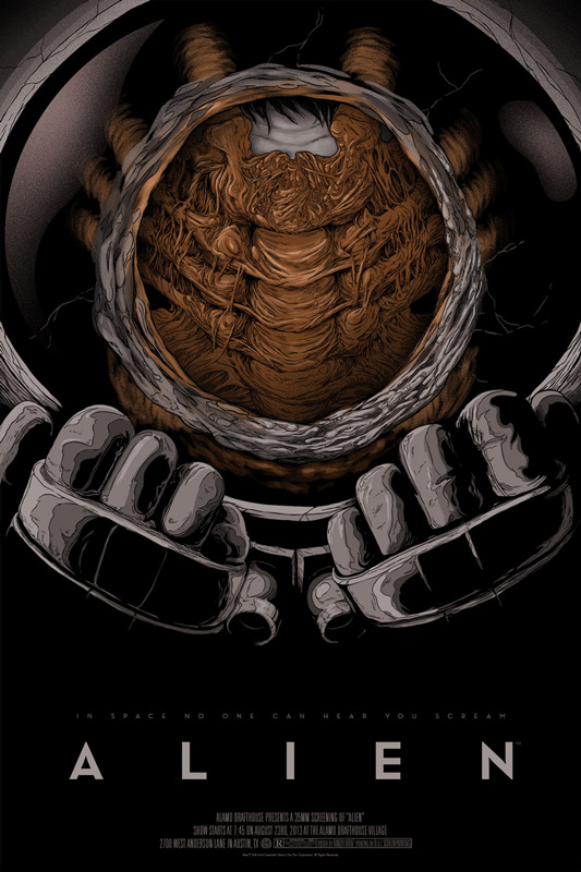 "「エイリアン」ALIEN Poster by Randy Ortiz.  24""x36"" screen print. Hand numbered. Edition of 275.  Printed by D&L Screenprinting.  US$45"