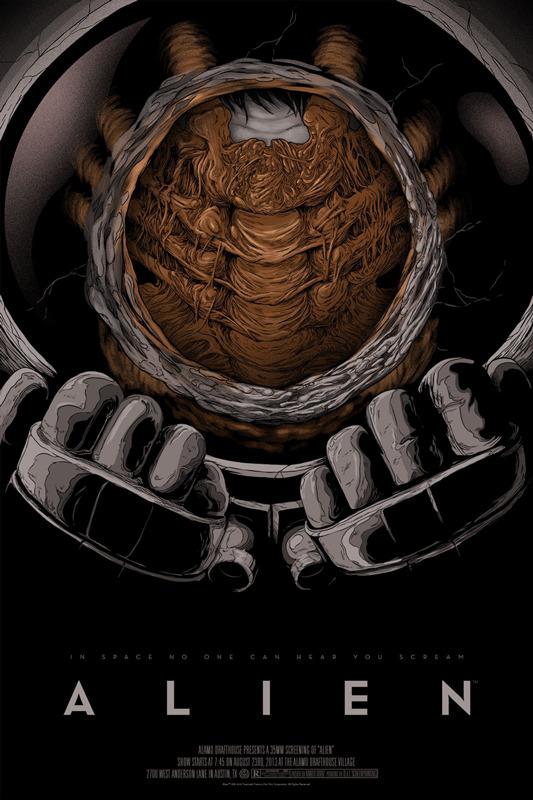 """「エイリアン」ALIEN Poster by Randy Ortiz.  24""""x36"""" screen print. Hand numbered. Edition of 275.  Printed by D&L Screenprinting.  US$45"""