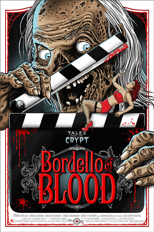"Bordello of Blood Poster by Ghoulish Gary Pullin.  24""x36"" screen print.  Hand numbered. Edition of 125.  Printed by D&L Screenprinting.  US$40"