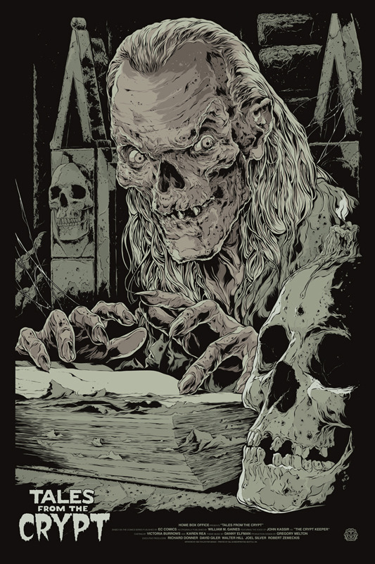 "Tales from the Crypt Poster by Ken Taylor.  24""x36"" screen print.  Hand numbered. Edition of 225.  Printed by D&L Screenprinting.  US$45"