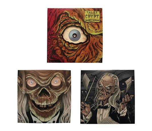 """Eye-Cut"" - Packaging design by Ghoulish Gary Pullin.  Single LP in standard jacket pressed on black vinyl.  US$12  ""Crypt Keeper"" - Packaging design by Randy Ortiz.  Single LP in standard jacket pressed on blood red with black haze vinyl.  US$12   ""De-Composer"" - Packaging design by Ghoulish Gary Pullin.  Single LP in standard jacket pressed on slime green vinyl.  US$12"