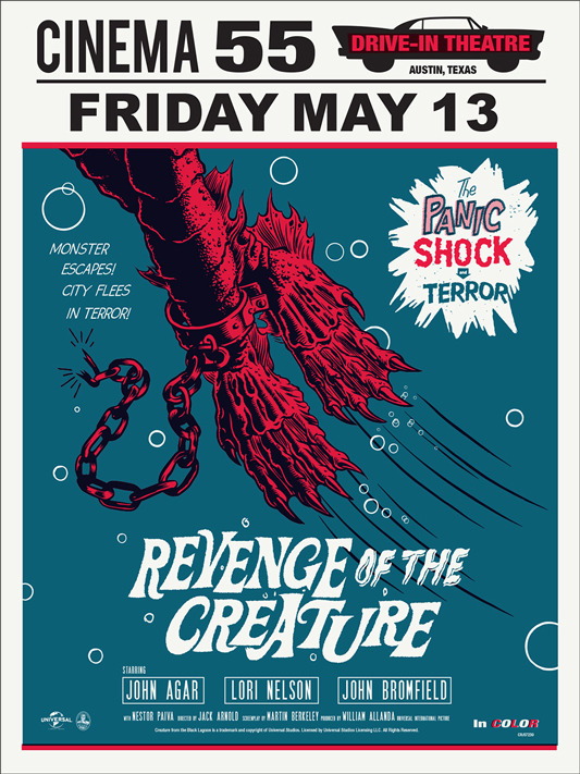 "「半魚人の逆襲」レギュラー REVENGE OF THE CREATURE Regular Poster by Morning Breath.  18""x24"" screen print. Hand numbered. Edition of 175. Printed by D&L Screenprinting.  US$40"