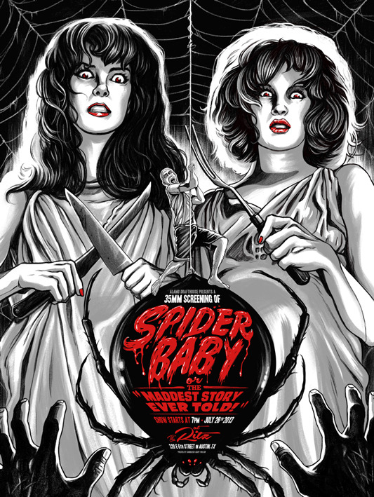 "「スパイダー ベイビー」SPIDER BABY Poster by Ghoulish Gary Pullin.  18""x24"" screen print. Hand numbered. Edition of 125.  Printed by D&L Screenprinting.  US$40"