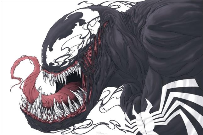 """「ヴェノム」Venom Poster by Randy Ortiz.  24""""x36"""" screen print. Hand numbered.  Edition of 325. Printed by D&L Screenprinting."""