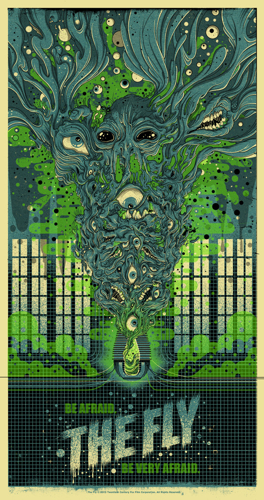 "「ザ・フライ」The Fly Poster by Drew Millward.  18""x34"" screen print. Hand numbered. Edition of 225.  Printed by D&L Screenprinting.  US$40"