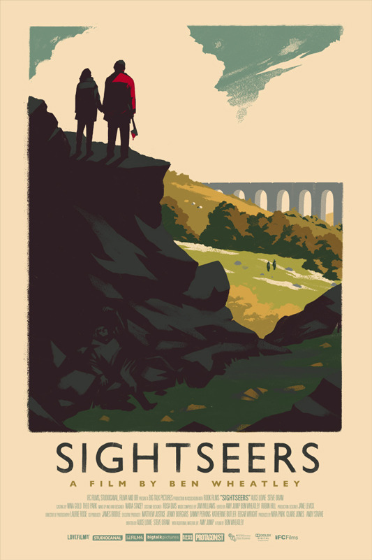 "「サイトシアーズ」Sightseers Poster by Olly Moss.  16""x24"" screen print. Hand numbered. Edition of 225.  Printed by D&L Screenprinting.  US"