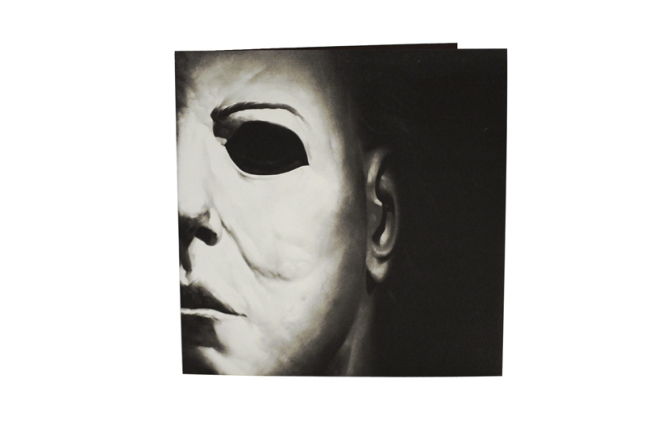 HALLOWEEN Original Soundtrack  by John Carpenter.  Packaging design by Phantom City Creative.  2XLP in deluxe gatefold jacket pressed on 180 gram orange vinyl with black splatter.  US$30  (On sale at 35 Years of Terror event)
