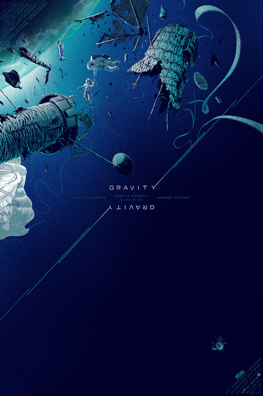 "「ゼロ・グラビティ」GRAVITY Poster by Kevin Tong.  24""x36"" screen print. Hand numbered. Edition of 375.  Printed by D&L Screenprinting.  US"
