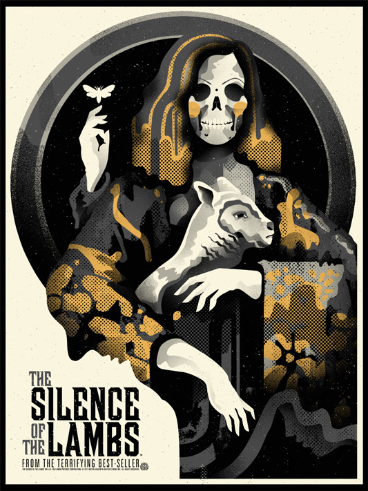 "「羊たちの沈黙」バリアント THE SILENCE OF THE LAMBS Varient Poster by We Buy Your Kids.  18""x24"" screen print. Hand numbered. Edition of 85.  Printed by D&L Screenprinting.  US$60"