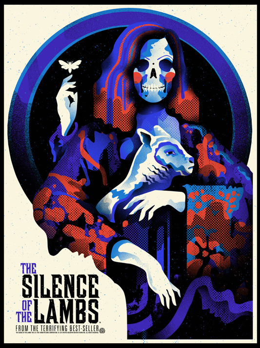 "「羊たちの沈黙」レギュラー THE SILENCE OF THE LAMBS Poster by We Buy Your Kids.  18""x24"" screen print. Hand numbered. Edition of 150.  Printed by D&L Screenprinting.  US$40"