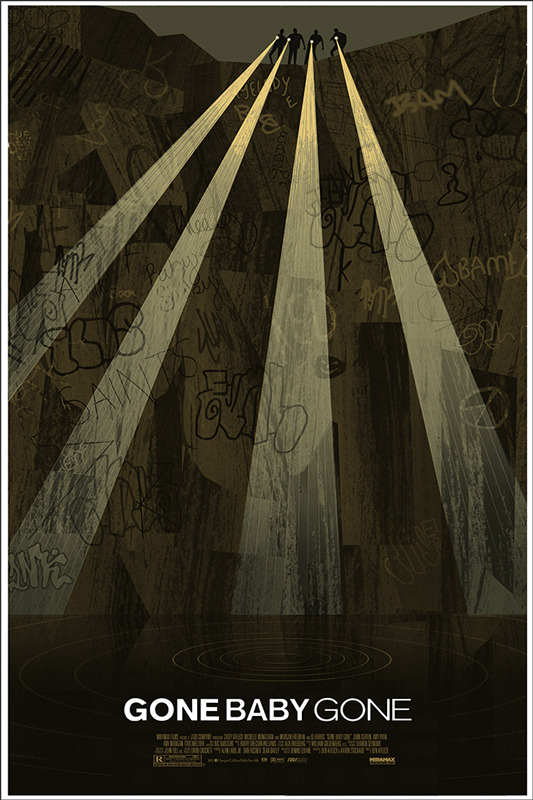 """「ゴーン・ベイビー・ゴーン」GONE BABY GONE  Poster by Adam Simpson.  24""""x36"""" screen print. Hand numbered. Edition of 235. Printed by D&L Screenprinting.  US$45"""