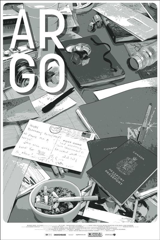 """「アルゴ」ARGO Poster by Matthew Woodson.  24""""x36"""" screen print. Hand numbered.  Edition of 290. Printed by D&L Screenprinting.  US$45"""