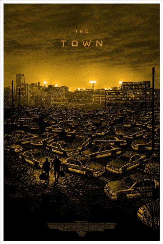 """「ザ・タウン」バリアント  THE TOWN Varient Poster by Daniel Danger.  24""""x36"""" screen print. Hand numbered.  Edition of 160. Printed by D&L Screenprinting.  US"""