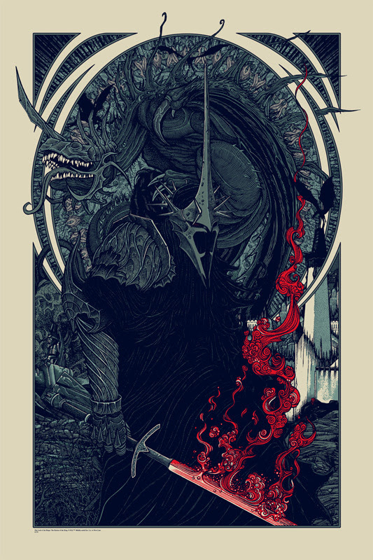 "「ウィッチキング&フェルビースト」バリアント WITCH KING AND FELL BEAST Varient Poster by Florian Bertmer.  24""x36"" screen print. Hand numbered.  Edition of 85. Printed by D&L Screenprinting.  US$65"