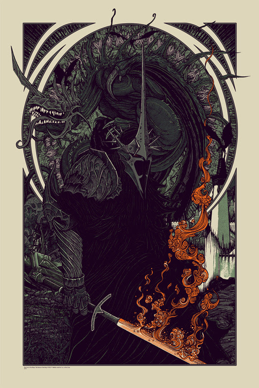 "「ウィッチキング&フェルビースト」レギュラー WITCH KING AND FELL BEAST Regular Poster by Florian Bertmer.  24""x36"" screen print. Hand numbered.  Edition of 180. Printed by D&L Screenprinting.  US$45"