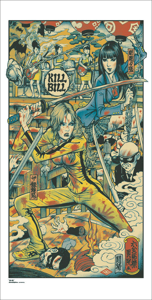"「キルビル」KILL BILL Poster by Rockin' Jelly Bean.  18""x36"" screen print. Hand numbered. Edition of 520.  Printed by D&L Screenprinting.  US$55"