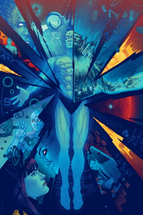 「DR.マンハッタン」バリアント DR. MANHATTAN Variant Poster by Kevin Tong. 24″x36″ screen print. Hand numbered. Edition of 125. Printed by D&L Screenprinting.