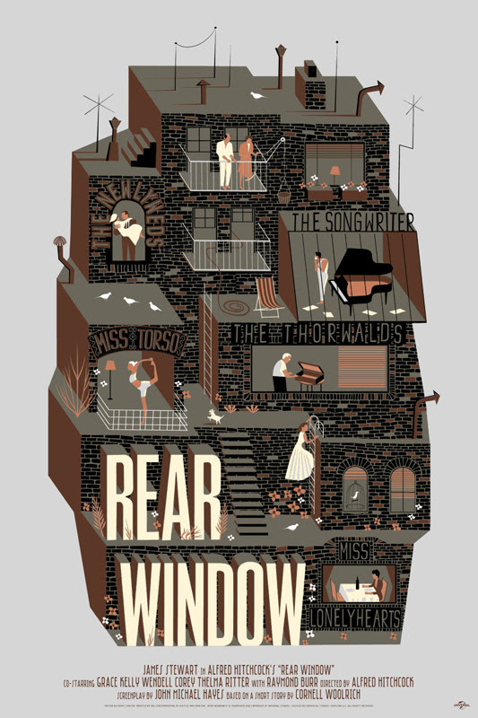 "「裏窓」バリアント Rear Window Variant Poster by Adam Simpson.  24""x36"" screen print. Hand numbered. Edition of 110.  Printed by D&L Screenprinting.  US$65"