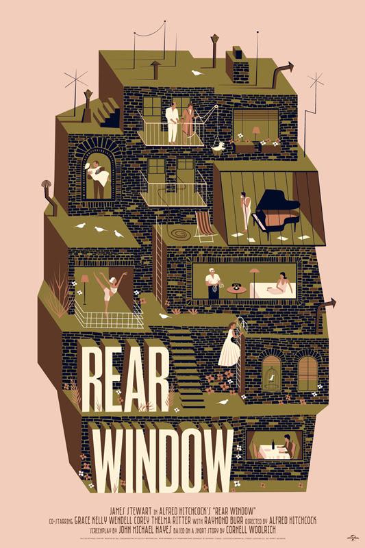 """「裏窓」レギュラー Rear Window Regular Poster by Adam Simpson. 24""""x36""""screen print. Hand numbered. Edition of 225.  Printed by D&L Screenprinting.  US"""