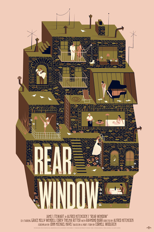 "「裏窓」レギュラー Rear Window Regular Poster by Adam Simpson. 24""x36""screen print. Hand numbered. Edition of 225.  Printed by D&L Screenprinting.  US$45"