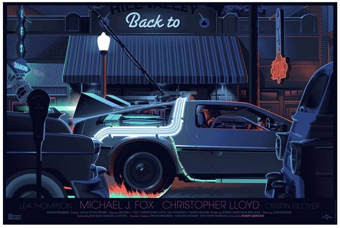 "「バック・トゥ・ザ・フューチャー」 レギュラー Back to the Future Reguler Poster by Laurent Durieux.  36.5""x24.5"" screen print. Hand numbered.  Edition of 575.  Printed by Seizure Palace Screen Printing.  US$60"