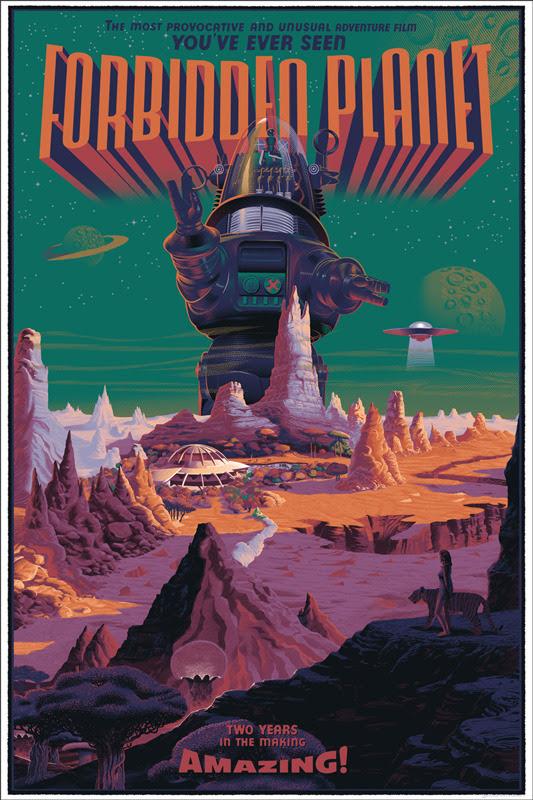 """「禁断の惑星」Forbidden Planet Poster by Laurent Durieux. 24""""x36"""" screen print. Hand numbered. Edition of 425.  Printed by D&L Screenprinting. US$60"""