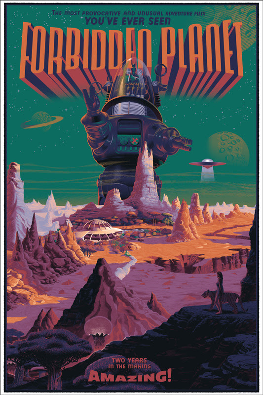 "「禁断の惑星」Forbidden Planet Poster by Laurent Durieux. 24""x36"" screen print. Hand numbered. Edition of 425.  Printed by D&L Screenprinting. US$60"