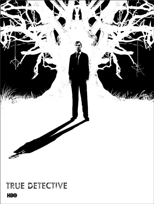 """「True Detective 」 Poster by Jay Shaw.  18""""x24"""" screen print.  Hand numbered. Edition of 120.  Printed by Monolith Press.  US$40"""