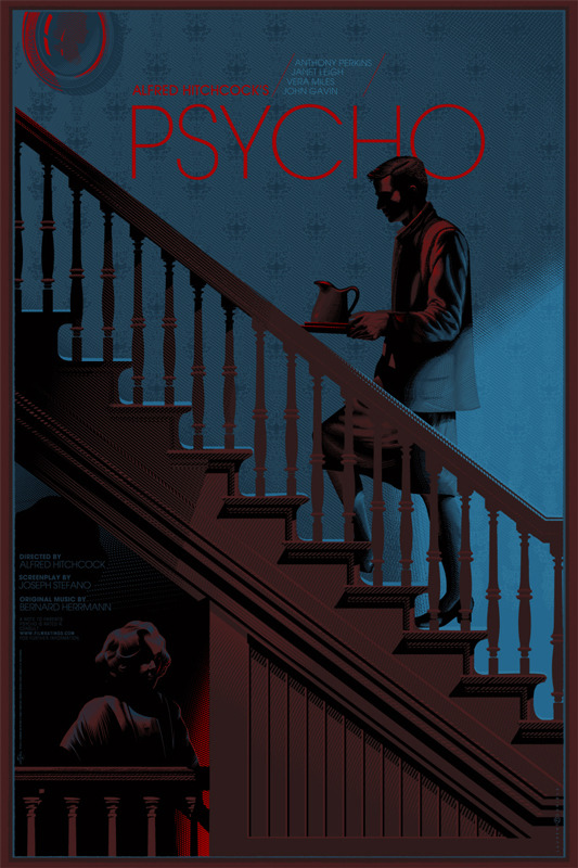 "「サイコ」 Psycho Poster by Laurent Durieux.  36""x24"" screen print. Hand numbered. Edition of 325.  Printed by D&L Screenprinting.  US$60"